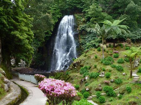 portugal agriculture: cascade at Sao Miguel Island