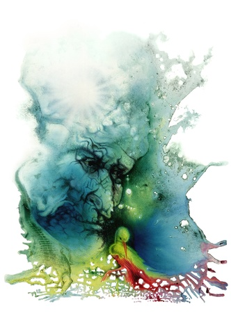 """cuadro de colores pintados por mí, llamado """"Fondo"""", que muestra una cara arrugada de un anciano en la espalda y un cocodrilo y un pájaro en primer plano. Itu00b4s un tema simbólico en torno al significado de la vida"""