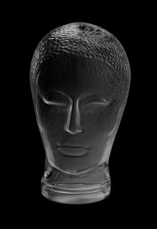 human head made of glass in black back Stock Photo - 10862267