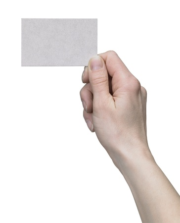 studio photography of a hand holding a bisiness card in white back photo