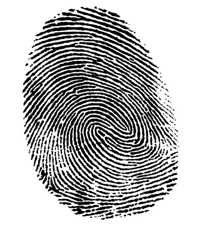 fingermark: a black thumb fingerprint in white back