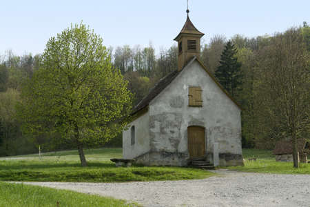 small peaceful chapel in Wackershofen in Southern Germany at spring time