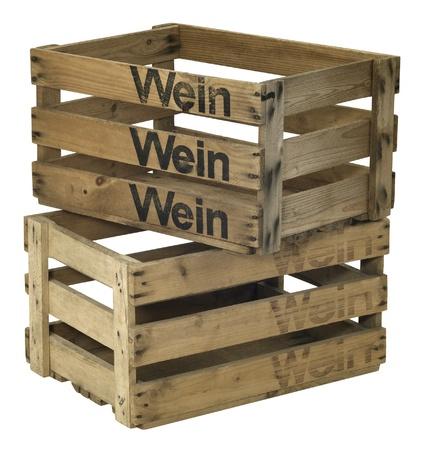 enclosing: due casse di vino in legno Archivio Fotografico