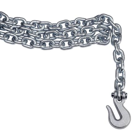 studio photography of a metal chain and hook in white back photo