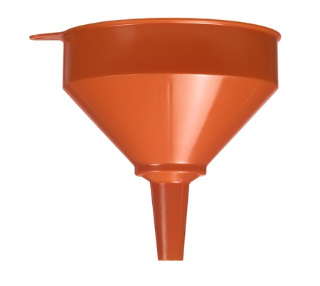 hopper: studio photography of a orange funnel in white back