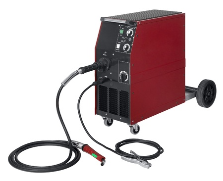 studio photography of a red and black welding apparatus in white back