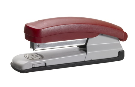 staple gun: studio photography of a red office stapler