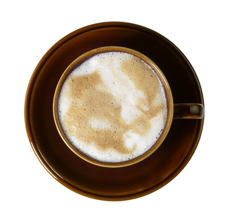 allegory painting: cup of coffee with marbled milk froth
