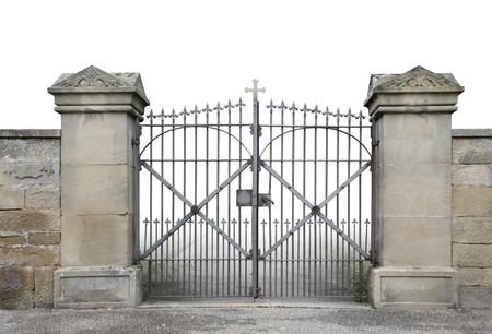 entrance of a graveyard with a wrought-iron gate and stone wall detail in gradient photo