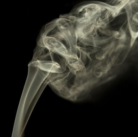 precipitate: abstract background showing some smoke in dark back Stock Photo