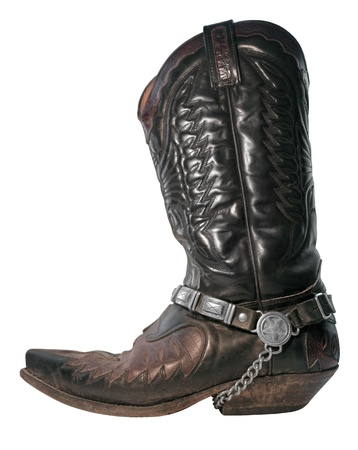 old dark cowboy boot with chain  photo