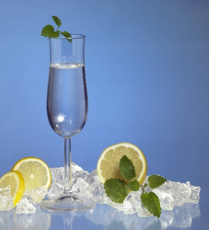 commercialization: studio photography of a filled stemware glass in blue ambiance with citrus fruits and ice cubes