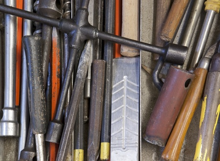 special steel: full frame background showing various hand tools Stock Photo