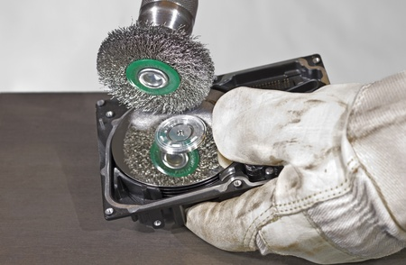 fixed disk: open hard disk gets scrubbed Stock Photo