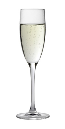 champagne flute: Studio photography of a filled champagne glass