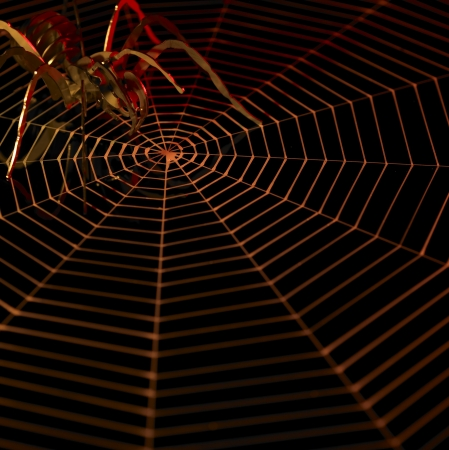 spiderweb: symbolic picture with artificial metallic spider and painted cobweb in dark back, orange illuminated Stock Photo