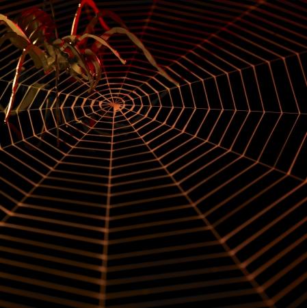 cobwebs: symbolic picture with artificial metallic spider and painted cobweb in dark back, orange illuminated Stock Photo