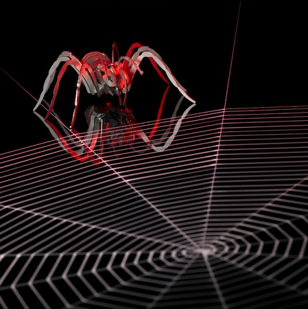 symbolic picture with artificial metallic spider and painted cobweb in dark back, orange illuminated Stock Photo - 10914308