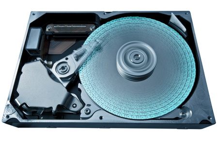 fixed disk: symbolic detail of a opened hard disk and some data, blue toned