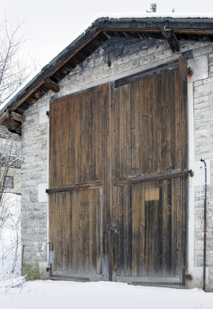 detail of a historic railroad depot in Southern Germany at winter time photo