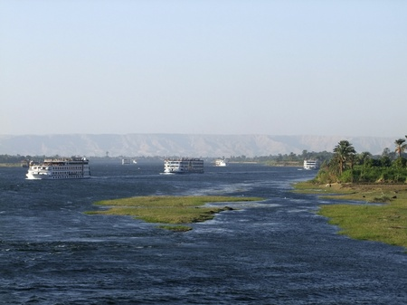 travel and vacation theme with some ships on the Nile in Egypt photo