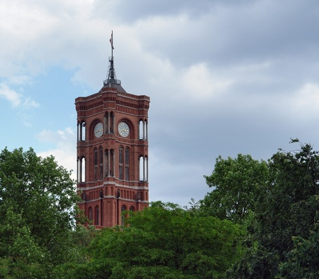 the tower of the Red Town Hall in Berlin (Germany) at summer time with clouded sky Stock Photo - 11049342