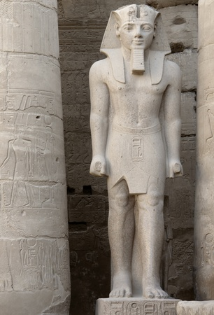 antiquities: architectural detail of the ancient Luxor Temple in Egypt (Africa) including a pharaonic sculpture Editorial