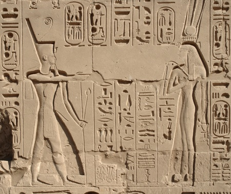 allegory painting: sunny illuminated relief at the Precinct of Amun-Re in Egypt (Africa)