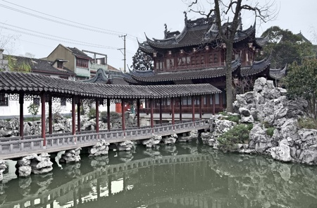 detail of the historic Yuyuan Garden in Shanghai (China).The garden was created in the year 1559 by Pan Yundan photo