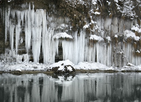 riparian: lots of icicles near river Kocher in Southern Germany