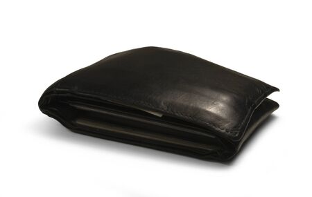 studio photography of a used black moneybag isolated on white with shadow photo
