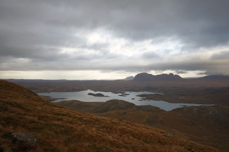 fantastic panoramic scenery in Scotland near Stac Pollaidh photo
