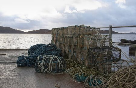 lots of fishing traps and ropes in scottish seaside ambiance Stock Photo - 10916777