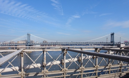 city view of New York with Manhattan Bridge, seen from the Brooklyn Bridge (USA) Stock Photo - 10917546