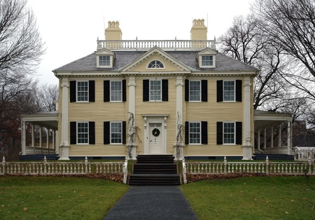 middlesex: the historic Longfellow House in Cambridge (Massachusetts, USA) at early winter time Editorial