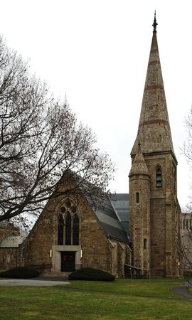 middlesex: a small church with steeple in Cambridge (Massachusetts, USA) at autumn time