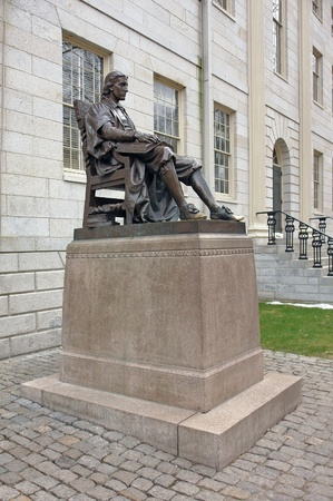 conceived: In 1884 Samuel J. Bridge presented the University with a bronze statue of John Harvard as conceived by Daniel Chester French. The statue is nicknamed The Statue of Three Lies.
