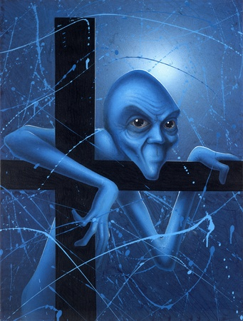 rejections: picture painted by me, called Doubt. It shows a strange blue gnome full of doubts im mystic blue ambiance