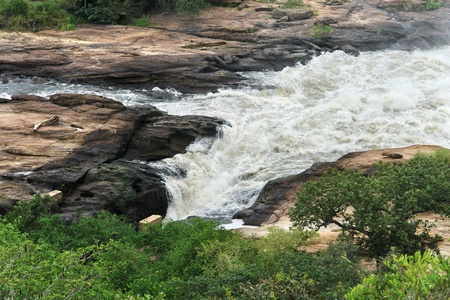 white nile: Detalle en �ngulo alto de las Cataratas Murchison, en Uganda (�frica) Foto de archivo
