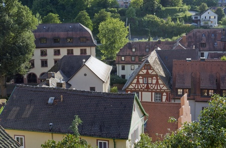 wertheim: sunny illuminated aerial view detail of Wertheim am Main (Southern Germany) at summer time Stock Photo