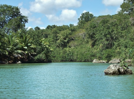 waterside scenery at the Dominican Republic, a island of Hispanola wich is a part of the Greater Antilles archipelago in the Carribean region photo