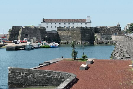 harbour scenery at Ponta Delgada, capital city of the Azores at S