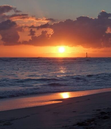 beach with sunset at the Dominican Republic, a island of Hispanola wich is a part of the Greater Antilles archipelago in the Carribean region photo