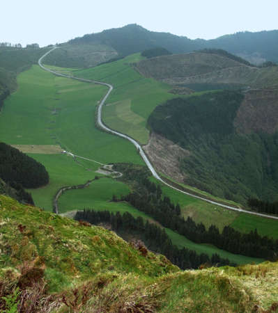 landscape with small road at Sao Miguel Island photo