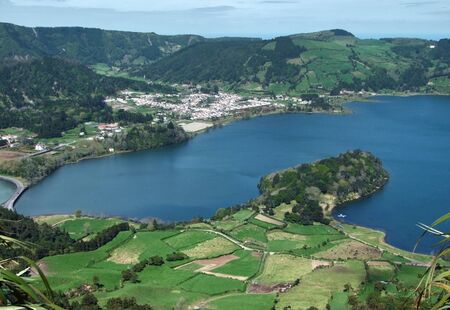 agriculture azores: high angle view with part of a lake named Lagoa das Sete Citades at S