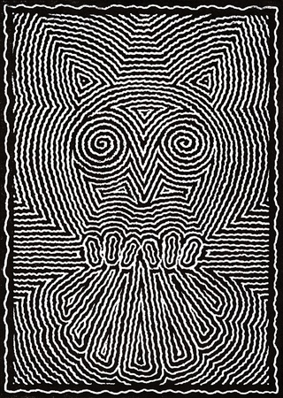 Linocut done by me named Owls Dream, it shows a black and white abstract owl made of dense shaky lines photo