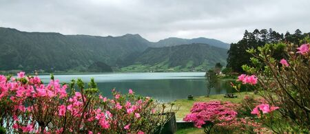 agriculture azores: idyllic waterside scenery at Sao Miguel Island