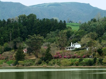 agriculture azores: idyllic lakeside scenery at Sao Miguel Island Stock Photo