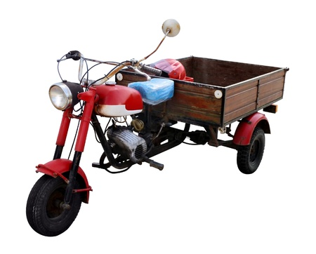 rundown rustic trike in white back Stok Fotoğraf