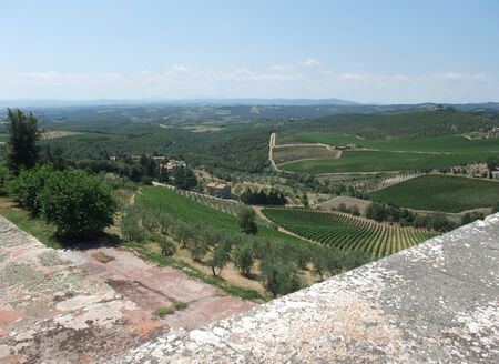 scenery around Gaiole seen from Castle of Brolio in the Chianti region of Tuscany in Central Italy photo